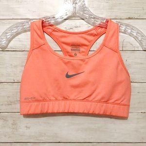 NIKE Dri Fit Sports Bra Neon Peach Sz Small Q5